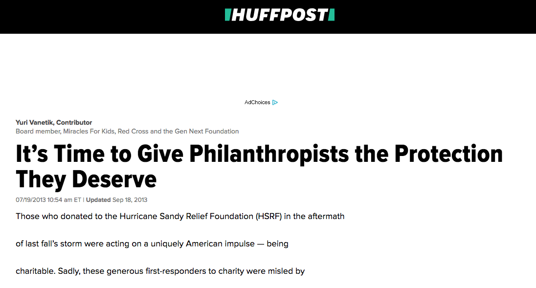 Yuri Vanetik article in Huffpost